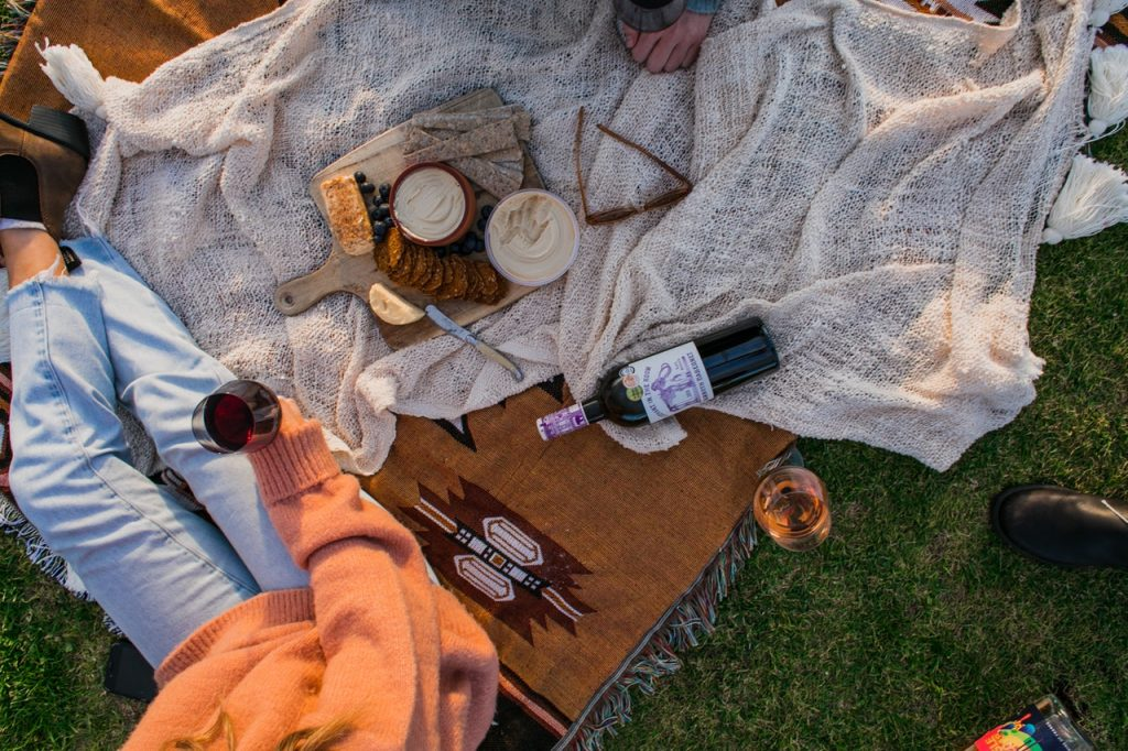 Pic nic with wine and cheese